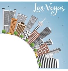 Las Vegas Skyline with Gray Buildings vector image