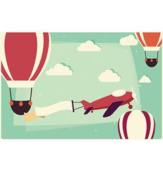 Background with hot air balloons and airplane vector image