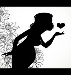 black silhouette of a beautiful pregnant woman vector image vector image
