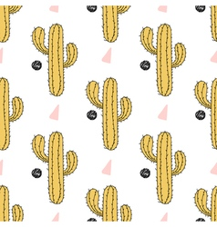 Cactus seamless pattern Hand drawn desert plant vector image