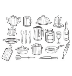 cooking equipment set kitchen utensil icons hand vector image