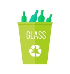 Green Recycle Garbage Bin with Glass vector image