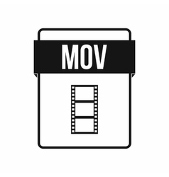 MOV file icon simple style vector image vector image