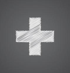 Plus sketch logo doodle icon vector