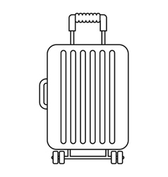 Suitcase on wheels icon outline style vector image