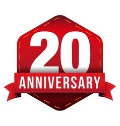 Twenty year anniversary badge with red ribbon vector