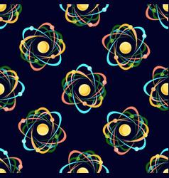 atom seamless pattern on dark blue background vector image