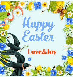 easter flower wreath poster with swallows vector image