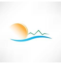 seascape at sunrise icon vector image vector image
