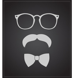 Hipster style set bowtie glasses and mustaches vector image vector image