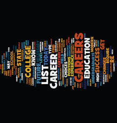 List of careers text background word cloud concept vector