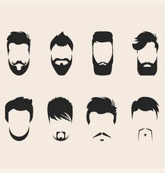 set of mustache vector image vector image