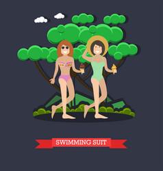 women in swimsuits in flat vector image vector image