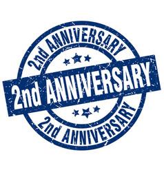 2nd anniversary blue round grunge stamp vector