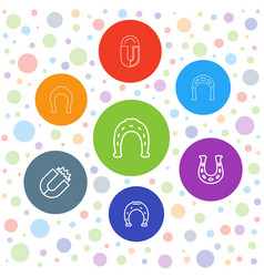 7 horseshoe icons vector