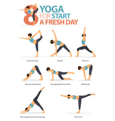 8 yoga poses for workout in start a fresh day vector