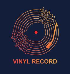 Abstract vinyl record wave music with dark vector