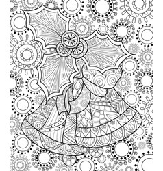adult coloring bookpage the christmas bells with vector image