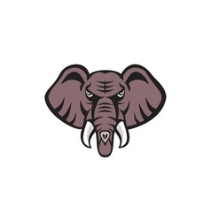 African Elephant Head Angry Tusk Retro vector