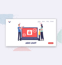 Age restriction notification landing page template vector