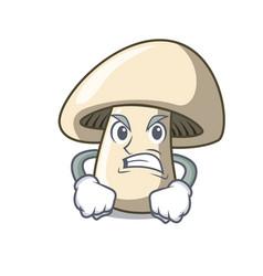 angry champignon mushroom mascot cartoon vector image