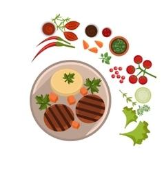 Appetizing steak on plate vector