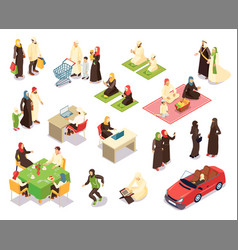 arab family isometric set vector image