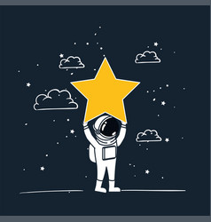 Astronaut draw with yellow star design vector