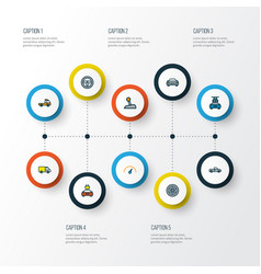 auto icons colored line set with speedometer vector image