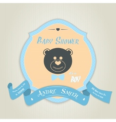 Baby shower invitation with teddy bear toy vector