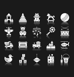 Baby toy white silhouette icons set vector