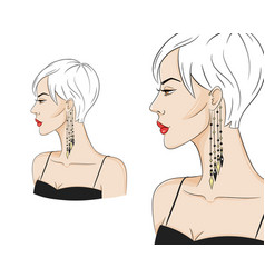beautiful woman in profile wearing stylish vector image