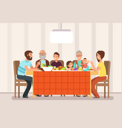 Big happy family eating lunch together in living vector