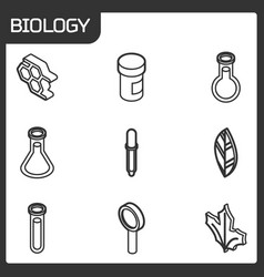 biology outline isometric icons vector image