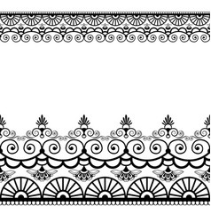 Border pattern elements with flowers and lace vector