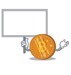 Bring board bitcoin coin character cartoon vector