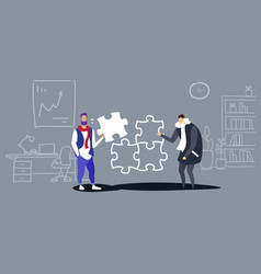 businessmen colleagues putting parts puzzle vector image