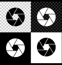 camera shutter icon isolated on black white and vector image