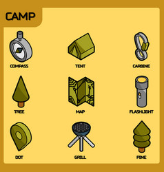 camp color outline isometric icons vector image