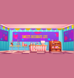 Candy shop empty interior with various pastry vector