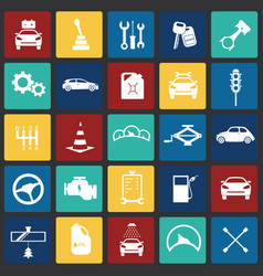 Car and service set on color squares background vector