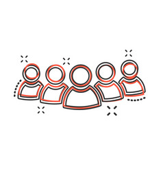 Cartoon group of people icon in comic style vector