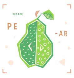 cartoon pear pear isolated vector image