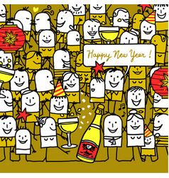 Cartoon people and happy new year card vector
