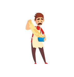 Chef kneading and cooking a dough pizza maker vector