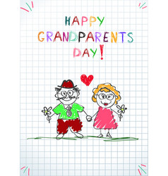 Children pencil hand drawn greeting card with vector