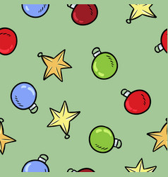 christmas toys colorful doodles decoration vector image