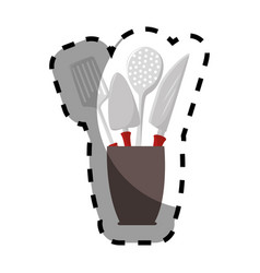 Color silhouette sticker with cutlery in recipient vector