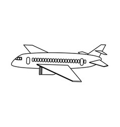 Commercial airplane sideview icon image vector
