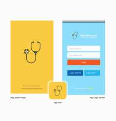 Company stethoscope splash screen and login page vector